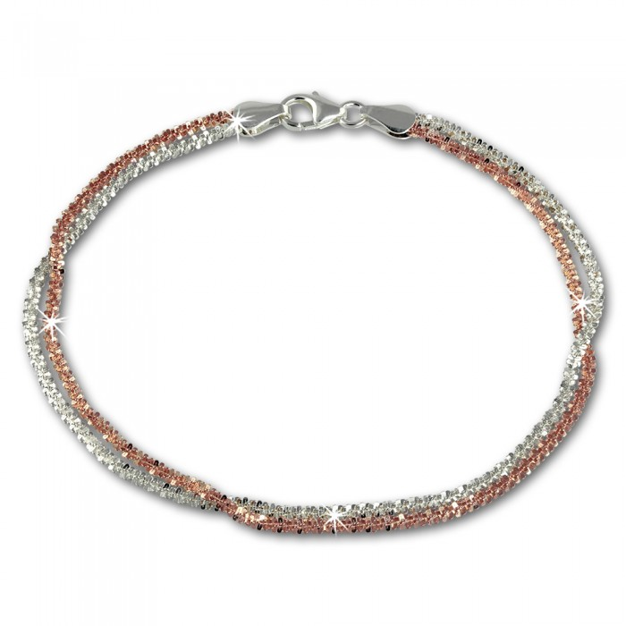 Bicolor Armband gedreht Rose vergoldet und Silber Damen SDA2169T von SILBERDREAM