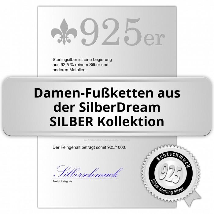 Fußkette Herz Zirkonia 25,5cm Rose vergoldet und Silber SDF0295E von SILBERDREAM