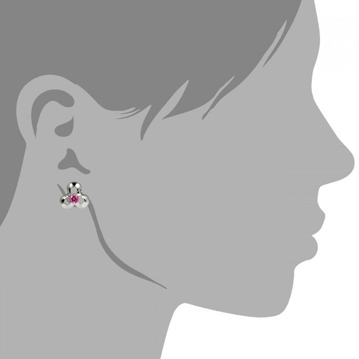 SilberDream Ohrstecker 7mm pink Ohrringe Silber Blüte Zirkonia Damen SDO529R