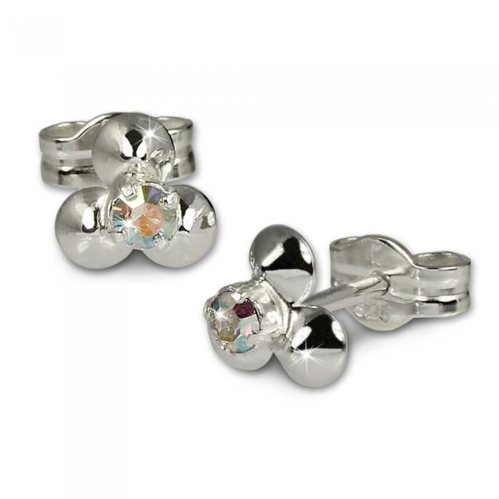 Ohrstecker Ohrringe Blümchen Blüte Blume Kristall weiß Sterling Silber 925