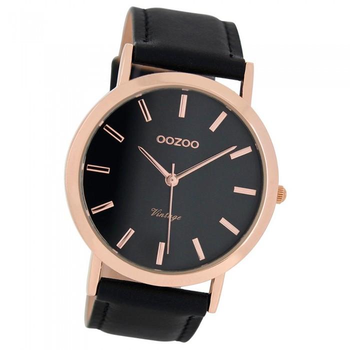 Schwarz Leder Ultra Slim Uhr Quarzuhr Uoc8119 Armband Oozoo Herren shCBQxtrd