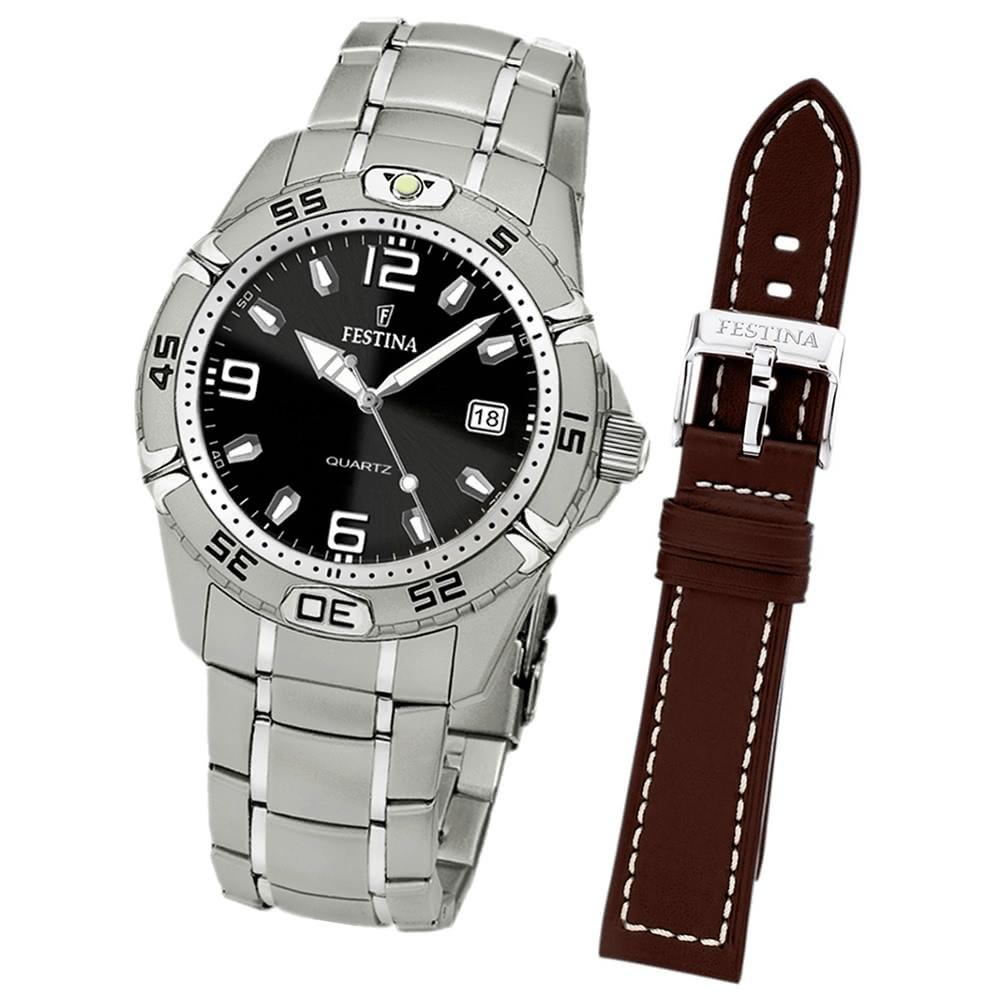 uhr festina herren armbanduhr analog edelstahl set uhr mit. Black Bedroom Furniture Sets. Home Design Ideas