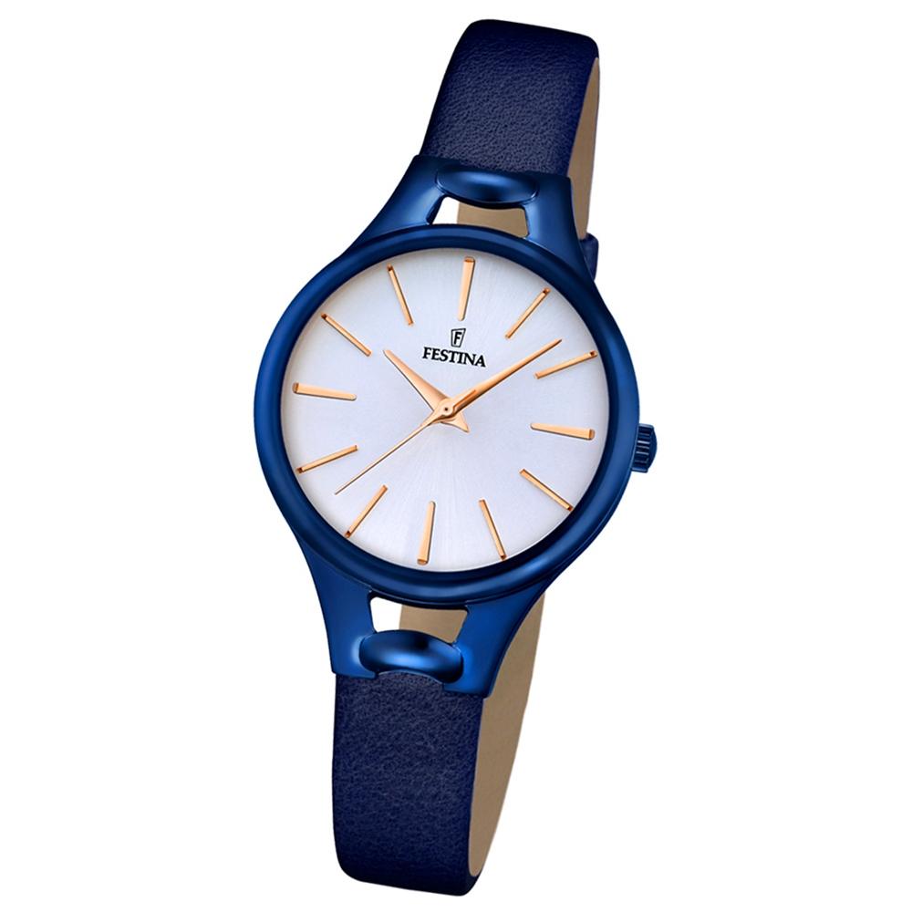 festina damen armbanduhr mademoiselle analog quarz leder blau uf16957 1. Black Bedroom Furniture Sets. Home Design Ideas