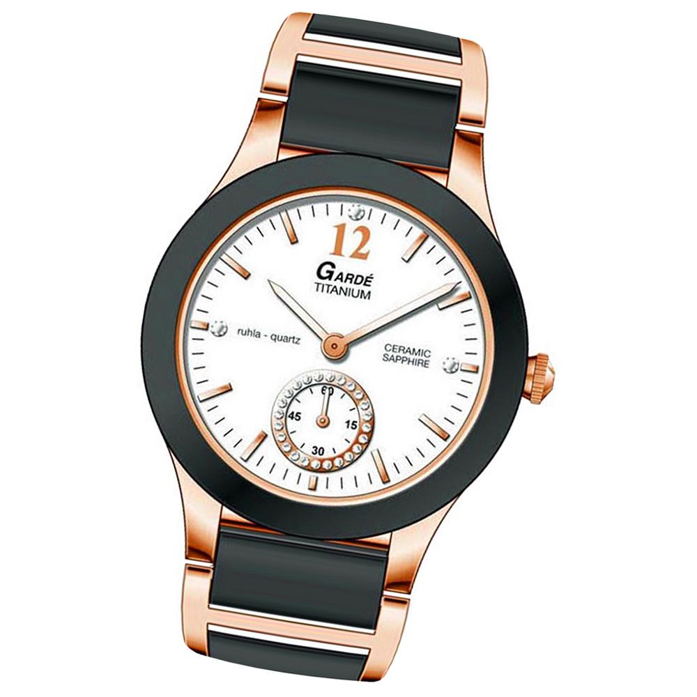 Elegant Schwarz Analog armbanduhr armband Damen Gardé Uga90281 Silber Quarz Edelstahl jL45AR