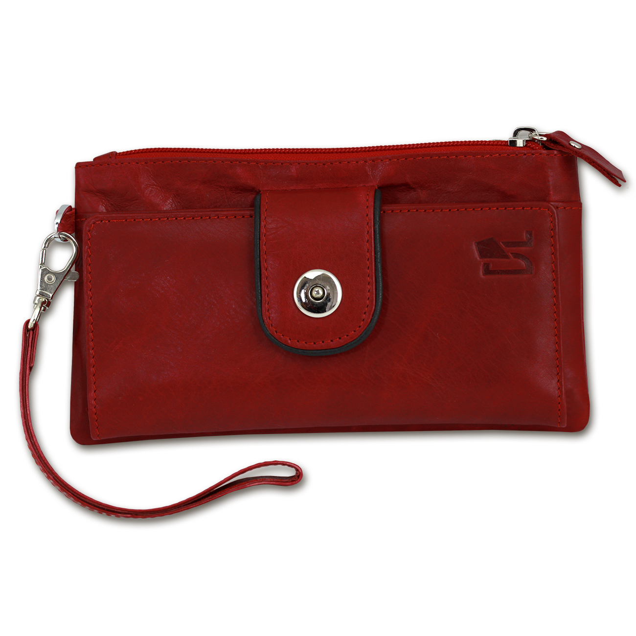 Purse Cell phone case Clutch Leather red Wristlet 3-in-1 ...